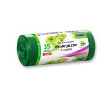 ST Worki na śmieci z USZAMI EKOLOGICZNE 35L 15szt. zielone (LDPE)