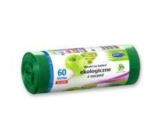 Worki na śmieci z USZAMI EKOLOGICZNE 60L 10szt. zielone (LDPE)