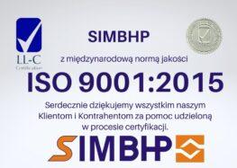 SIMBHP ze znakiem jakości ISO 9001:2015